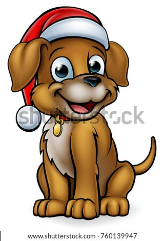 A pet dog cartoon character wearing a Christmas Santa Claus hat