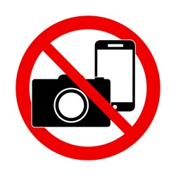 A Photo and phone forbidden warning sign vector illustration