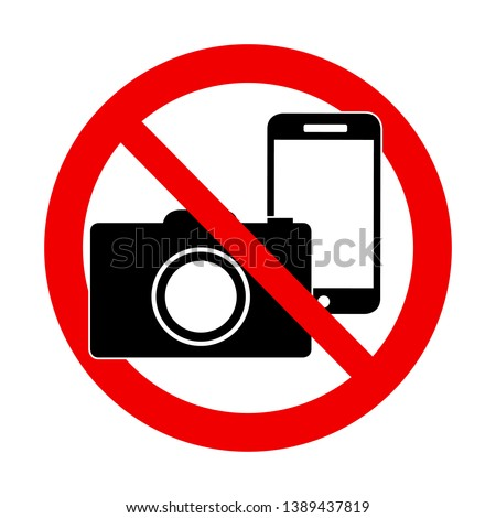 A Photo and phone forbidden warning sign vector illustration  Photo stock ©