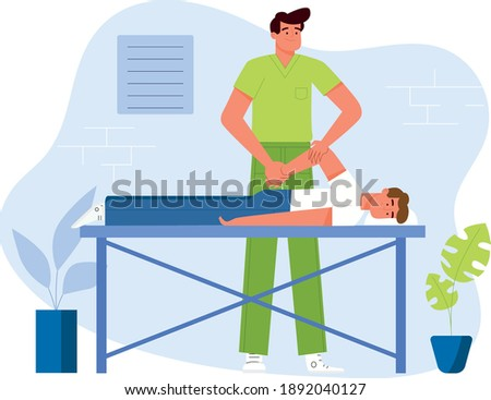 A physiotherapist doing a therapeutic massage to a patient lying on a table in a clinic. Flat design Illustration. Vector. Photo stock ©