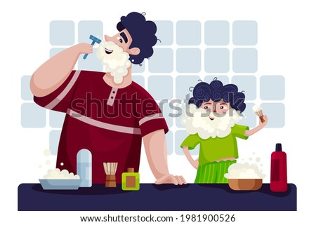 a picture for father's day. father and son have fun. father shaves in the bathroom, little son imitates him.  Photo stock ©