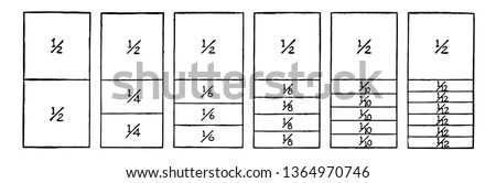 A picture showing fraction comparisons. Rectangles comparing fraction values to one half: 1/4, 1/6, 1/8, 1/10, and 1/12, vintage line drawing or engraving illustration.