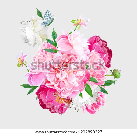 A picturesque peony flower. Seasonal flower. Inflorescence and leaves. Artistic drawing in vector #1202890327