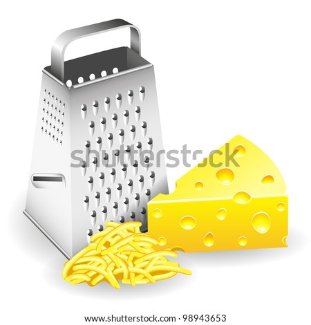 A piece of cheese grater and grated cheese. - stock vector