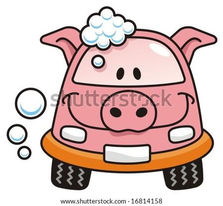 cartoon car washing. A pig cartoon car washing