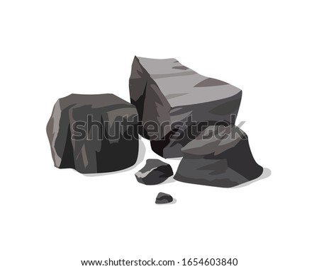 A pile of black coal on a white background Сток-фото ©