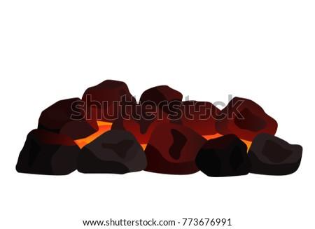 a pile of burning coal. flat...