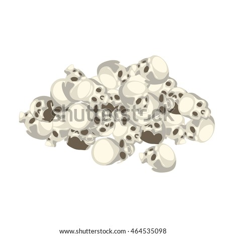 A pile of human skulls isolated on white background. Vector cartoon close-up illustration. stock photo