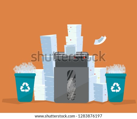 A pile of paper and documents stands above big floor shredder. . Many paperwork concept. Huge stacks of used paper and plastic recycle bins full of scraps of paper. Flat cartoon vector illustration. Foto stock ©