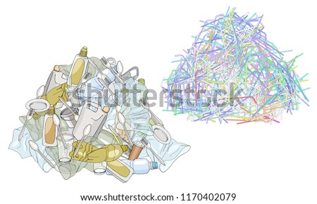 A pile of plastic garbage and straws isolate. The refusal of disposable plastic drinking straws. The problems with chemical wastes disposal. Stop plastic pollution, vector illustration.