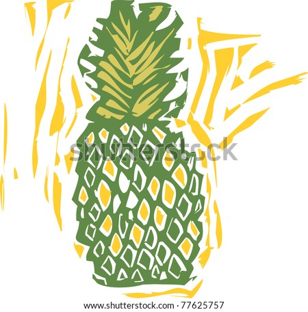 A pineapple in a woodcut style image of produce.