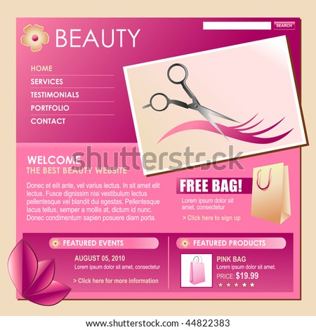 A pink and rose colored beauty style hair template for your business. Make your own business flyer or web template and chnage the text. Perfect for hairdressers or salons. - stock vector