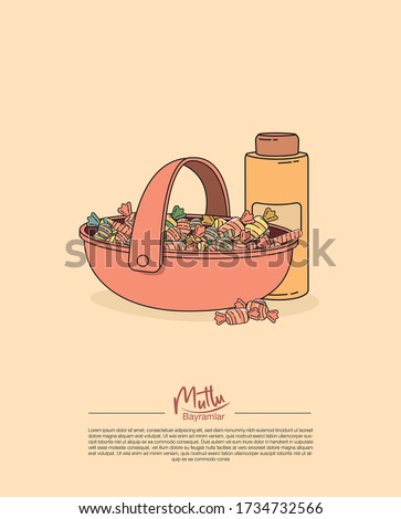 a pink basket with colorful candies and a bottle of eau de cologne which are the main offerings to the guests during ramadan feast and feast of sacrifice and a text saying ' have a happy feast'