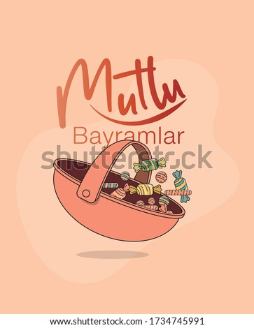 a pink basket with colorful candies in it for celebrating ramadan feast of all muslim families and a text saying 'have a happy feast'