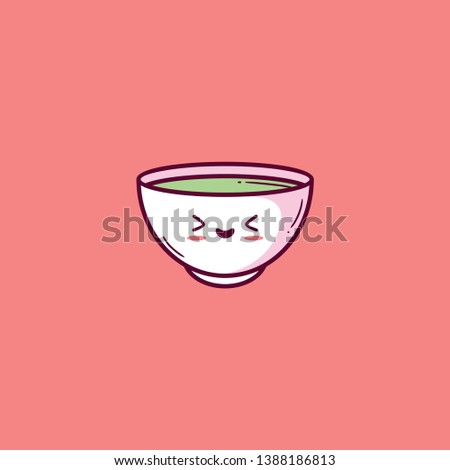 A pink colored giant bowl filled with green soup prepared by boiling meat  fish  or vegetables has eye-catchy designs of heart  vector  color drawing or illustration