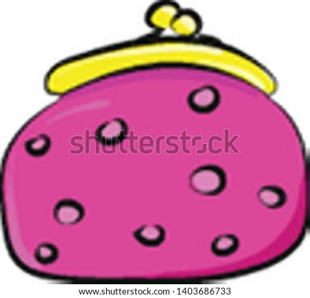 A pink lady's money purse with golden frame, eye-catchy designs, and clutch model, set isolated on white background viewed from the front, vector, color drawing or illustration.