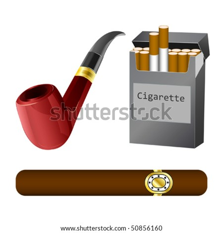 a pipe, cigar and cigarette vector illustration