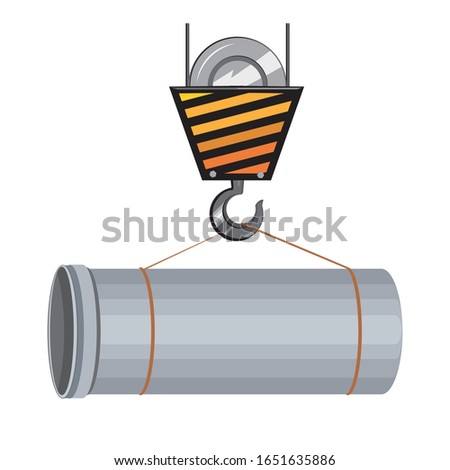 A pipe is lifted by a crane hook. Single vector stock illustration with pipeline construction. Flat concept of wastewater and sewage and infrastructure and communications