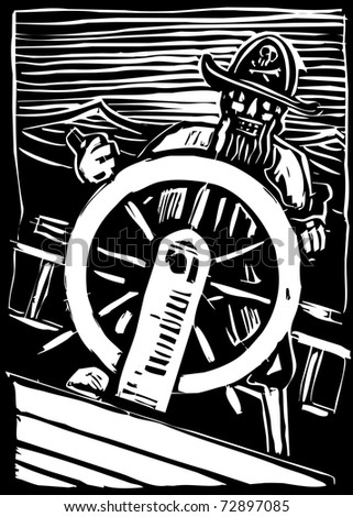 A pirate on a wave tossed ship hold the ships wheel.