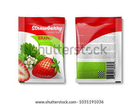 A plastic bag for your design and branding. Strawberry with green leaves. Mockup Blank Foil Packaging Sachet for tea, fruit, sugar, coffee, condoms, medicines, as well as salt, spices, sauce, shampoo.