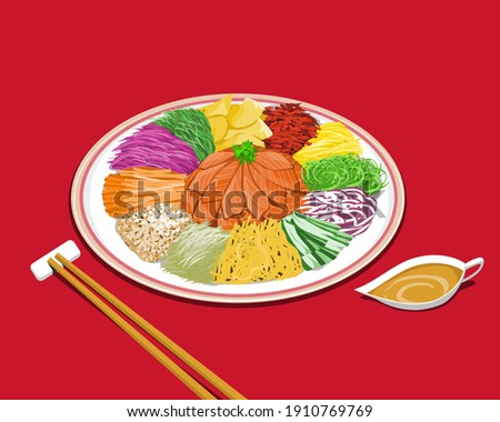 A plate of prosperity salad or Yu Sheng with sauce on red background. Isolated Yu Sheng vector illustration. Photo stock ©