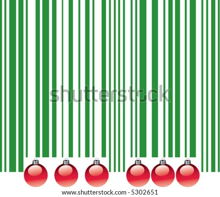 A playful representation of the commercialization of Christmas with a bar code and ornaments