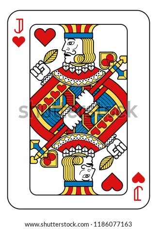 A playing card Jack of hearts in yellow, red, blue and black from a new modern original complete full deck design. Standard poker size.