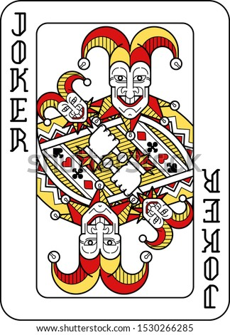 a playing card joker in red