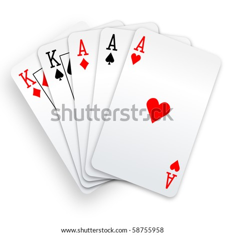 A Poker Hand Full House three Aces and pair of Kings playing cards
