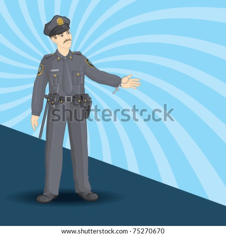 A police man with pull over gesture.