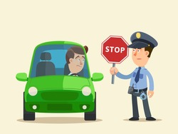 A police officer stopped the car for inspection holding a red stop sign in his hand. Confused driver looking to policeman. Vector illustration flat design cartoon style, isolated background.
