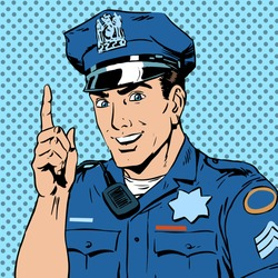 A police officer warns draws the attention of the profession the man smile law and order. The man is encouraged to follow the rules