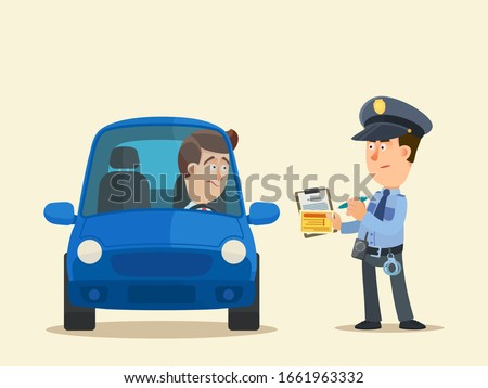 A policeman charge a fine to the driver. Violation of traffic rules, punishment. Penalty points for driver. Vector illustration, flat design, cartoon style, isolated background, front view.