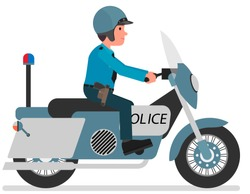 A policeman patrols the city on a motorcycle. Isolated on a white background.