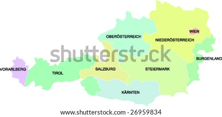 a political map of Austria showing the different federal states