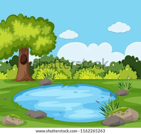 A pond in the nature illustration