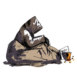 A poor homeless man in tattered outer clothing sits on the street, covered with an old blanket and begs for alms, a paper cup is standing next to it and thrown coins lie. Cartoon character isolated