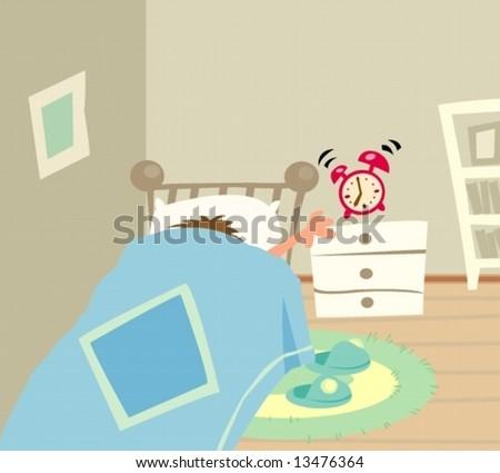 a poor man woken up by the alarm clock
