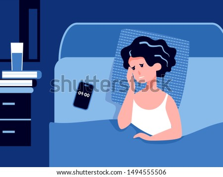 A poor sleepy woman suffers from insomnia and tries to sleep. Tired face. Problems with stress, depression, nightmares. Biological rhythms disturbance. Sleeplessness concept. Flat vector illustration.