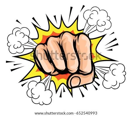 a pop art cartoon fist with a...