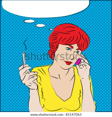 A pop art style portrait of a red-headed girl talking on the phone and smoking