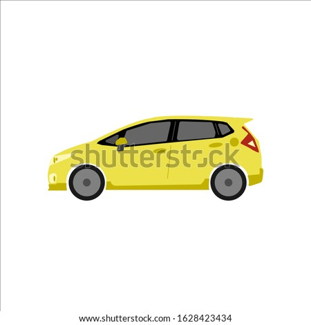 A portrait of a hatchback car takes a yellow dream car that can be changed in any color as desired.A parked car with a white background. Flat cartoon vector illustration. very perfect for presentation Stock photo ©