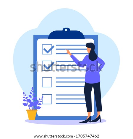 A positive business woman points in the direction marked by a checklist on whiteboard paper. Successfully complete business assignments. Flat vector illustration.
