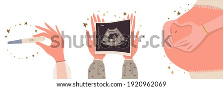 A positive pregnancy test result, a photo of a baby on an ultrasound scan, a large belly of a pregnant woman. Cartoon. Vector. Stock photo ©