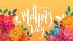 A postcard to the mother's day, with paper flowers and letterin. The illustration can be used in the newsletter, brochures, postcards, tickets, advertisements, banners.