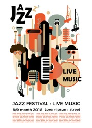 A poster for a jazz festival with musical instruments. Illustration with saxophone and piano keys and guitar. Colorful jazz festival musicians singers