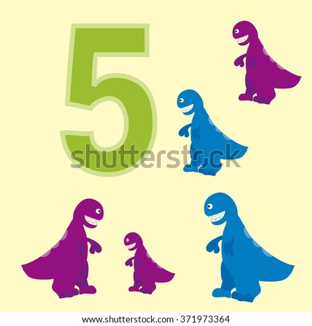 A poster for primary numeracy. Number five.Next to the number five dinosaurs.