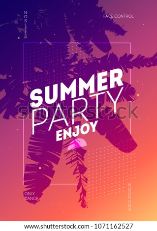 A4 Poster for summer and beach party background. Invitation palm tree template flyer design. Tropical Sunset