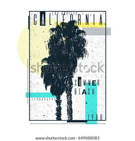 a poster on a t shirt with palm