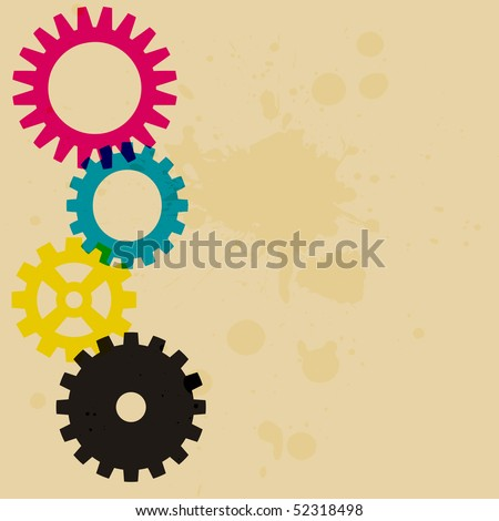 A poster style background featuring gears